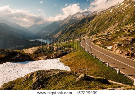 Grimselpass View Of Road, Alps, Raterichsbodensee
