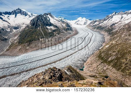 Part Of The Aletsch Glacier, Jungraujoch Behind