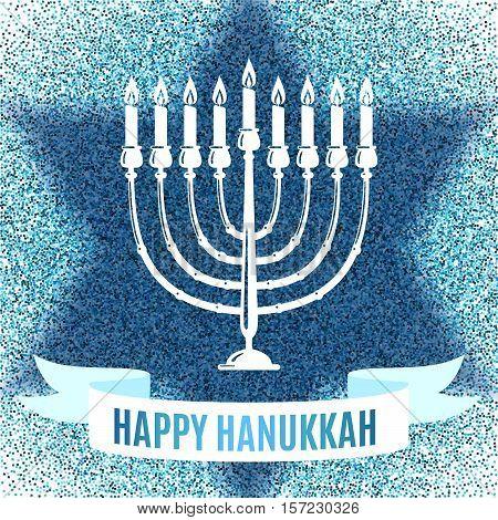 Happy Hanukkah greeting card in star form with blue glitter effect. Traditional Hanukkah symbols. Vector illustration.