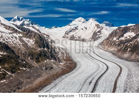 Detail Of The Aletsch Glacier, Jungraujoch Behind