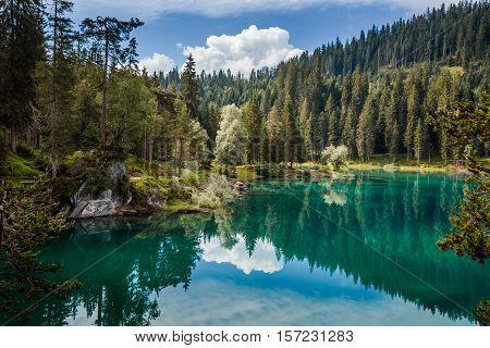 Caumasee Lake Near Flims In Grisons, Switzerland