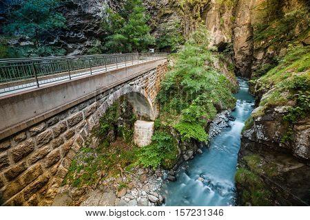 Tamina Gorge, River And Bridge Near Bad Pfafers