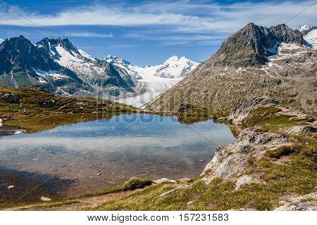 Aletsch Glacier Behind A Small Lake Near Eggishorn