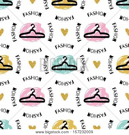 Trendy fashion creative seamless pattern. Sketch clothes hanger hand-drawn black marker, gold hearts and the words fashion. Ultra modern artistic graphic design, Unusual artwork. Vector background
