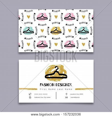 Fashion designer business card, stylist, Modern hipster minimal design. Vector graphics marker hand drawn, Gold and black elements on a white background. Sketch clothes hanger seamless pattern