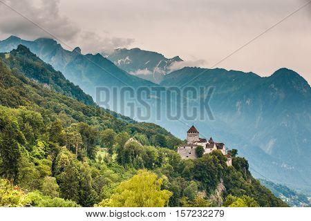 Wide View Of Vaduz Castle And Alps, Lichtenstein