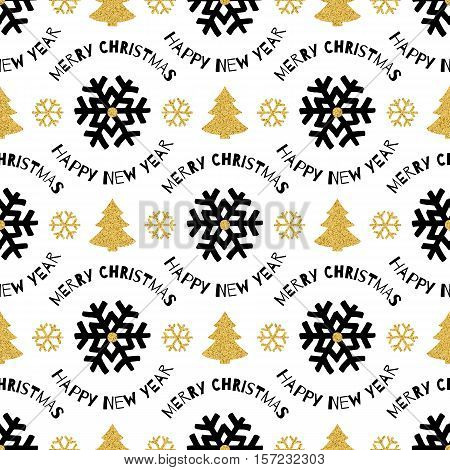 Trendy Xmas seamless pattern with - Merry Christmas and Happy New Year marker lettering and gold Christmas trees, snowflakes on white background. Perfect for greeting cards, wrapping paper, Vector