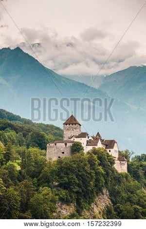 Vertical View Of Vaduz Castle, Lichtenstein