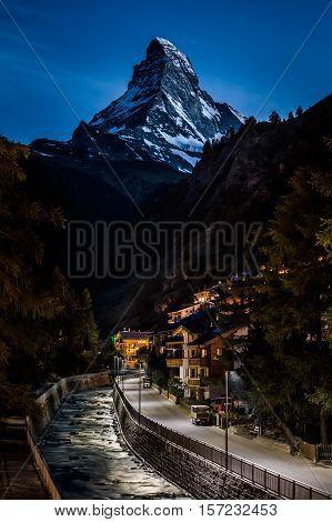 Night photo of Zermatt city and Matterhorn