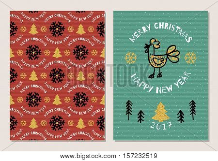 Trendy Holiday postcard Merry Christmas and Happy New Year 2017. Cute hand-drawn rooster, Christmas tree, seamless pattern of snowflakes, gold elements. Ultra modern artistic style, Vector artwork