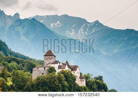 Close View Of Vaduz Castle And Alps, Lichtenstein