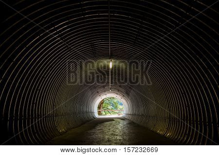 Tunnel leading to the nature near Staubbach Falls Switzerland