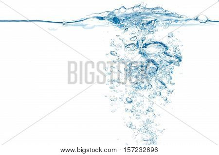 Water Surface With Stream Of Bubbles Emerging