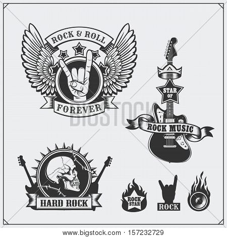 Rock'n'Roll music symbols, labels and design elements.