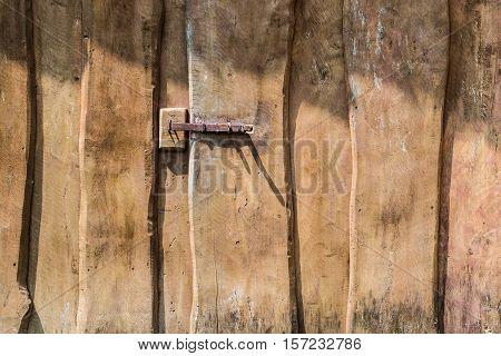 Old Brown Wooden Door Latch Close up