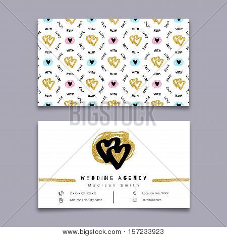 Wedding agency business card, event planner, celebrations coordinator. Modern hipster minimal design, Sketch collage elements hand-drawn. Gold and black love symbols, hearts. Vector isolated elements