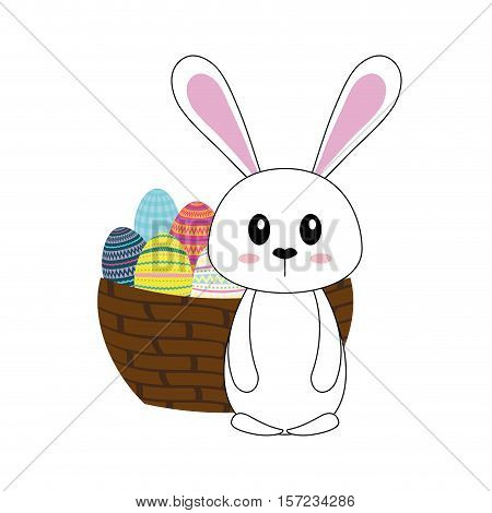 Happy easter bunny cartoon vector ilustration icon