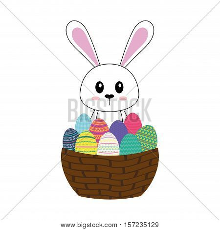 Happy easter bunny cartoon icon vector illustration design