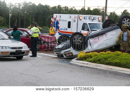 Orlando Florida - September 15th 2009: Vehicle rollover accident at major intersection in Orlando Florida September 15th 2009
