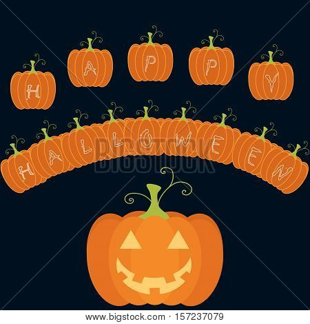 halloween greeting card with pumpkin letters in dark bllue background