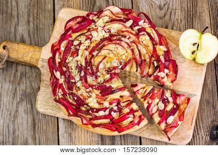 French Apple Tart Sweet Food. Studio Photo