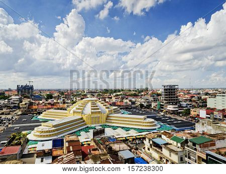 view of central market famous urban landmark in phnom penh city cambodia