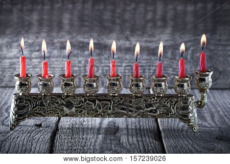 The Symbols of Hanukkah - nine-branched mehorah Hanukiah