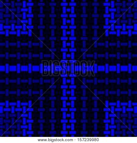 Abstract geometric seamless background. Regular rectangles pattern in azure and cobalt blue with dark blue and black elements, centered and modern.