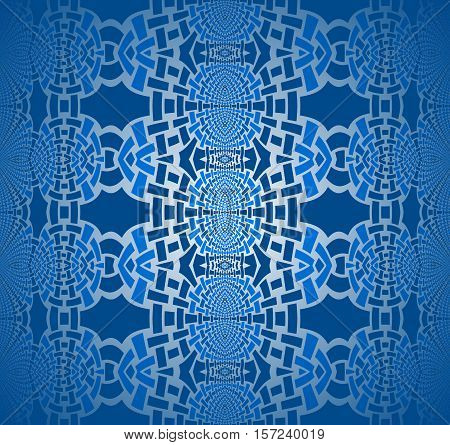 Abstract geometric seamless background. Regular ellipses ornaments in azure and dark blue shades with silver gray, centered and blurred.