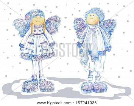 Two smiling christmas angels with fluffy wings dressed in warm winter cloths and funny slippers on white background. Color pencil drawing.