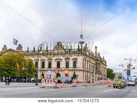 BERLIN, GERMANY- October 7, 2016: Typical Street view October 7, 2016: in Berlin, Germany. Berlin is the capital of Germany. With a population of approximately 3.5 million people.BERLIN, GERMANY