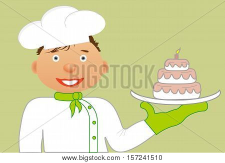 Cute cartoon chef in white hat, white shirt, a green handkerchief around his neck and a kitchen mitten. In his hands he's got cake on white dish. Vector illustration.