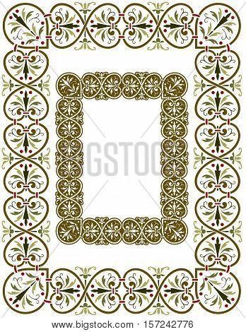 Antique European border design with frills and flourishes