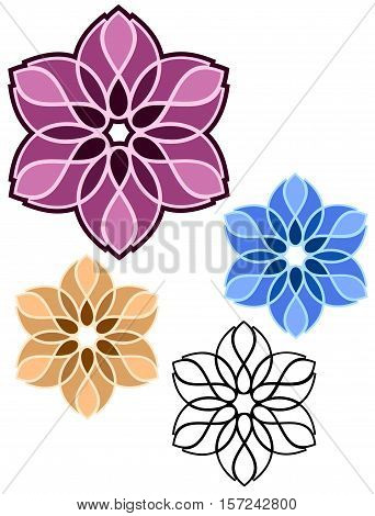 floral abstract geometric design in assorted colors