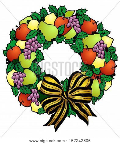Wreath of assorted fresh fruits, with holly, bayberries, and a gold foil bow.