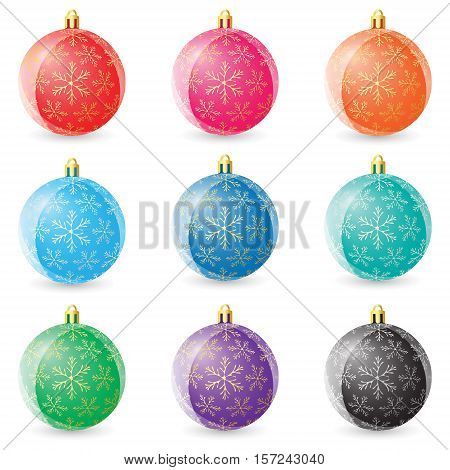Set Of Colored Christmas Balls On White Background. Vector Illustration
