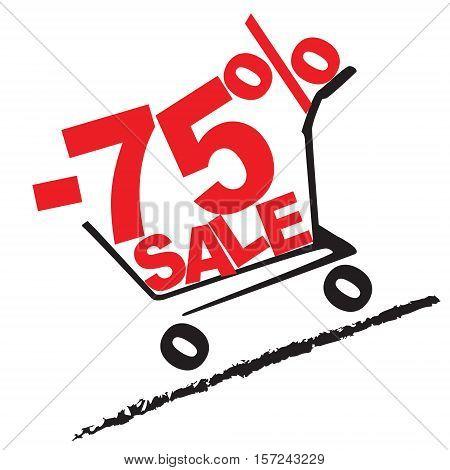 Big Sale, 75 Percentage Discount . Vector Illustration
