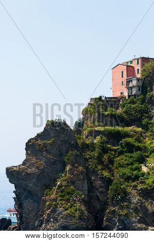 exposed house at cliffs of Manarola, Cinqueterre, Italy