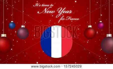 Happy New Year for France Background 2D Illustration, It's time to New Year for France