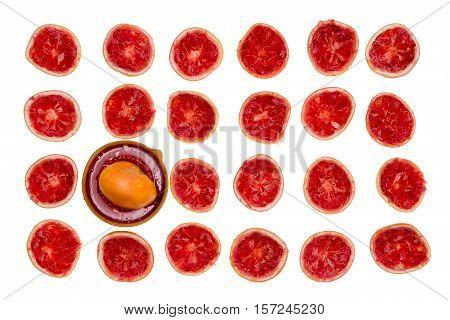 Arrangement Of Freshly Squeezed Grapefruit Halves