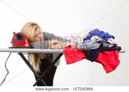 Sleepy Tired Woman Having Clothes To Iron