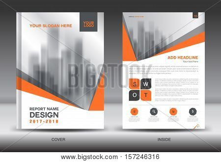 Orange Cover Annual report brochure flyer template creative design, cover design, cover and inside page layout infographics vector