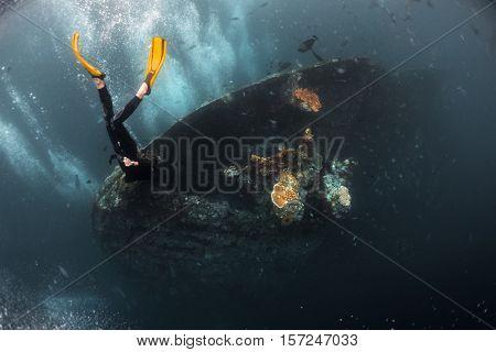 Free diver exploring the USAT Liberty shipwreck. Tulamben, Bali