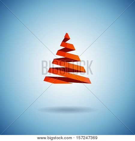 Christmas tree made with red ribbons levitate on blue background