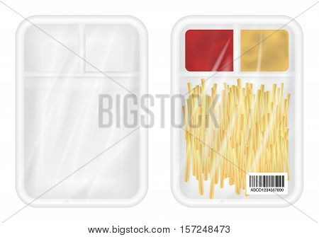 top view of White polystyrene packaging mockup with french fries and ketchup inside