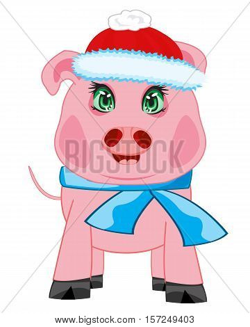 Cartoon to pigs in hat and scarf on white background