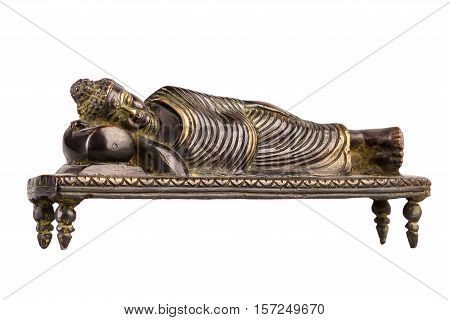 Buddha in parinirvana position - a figure from bronze isolated on a white background.