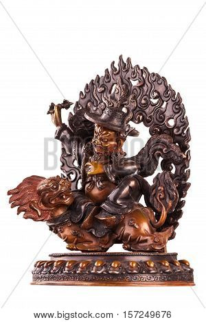 The defender of Buddhist doctrine Vadzhrasadkhu astride a snow lion holds in hand to a dorje.
