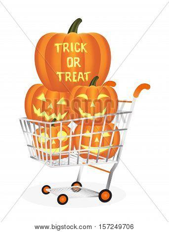 a Halloween pumpkins on a shopping cart
