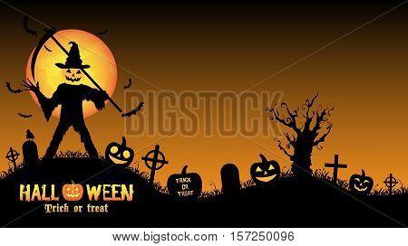 a halloween pumpkin killer in a graveyard
